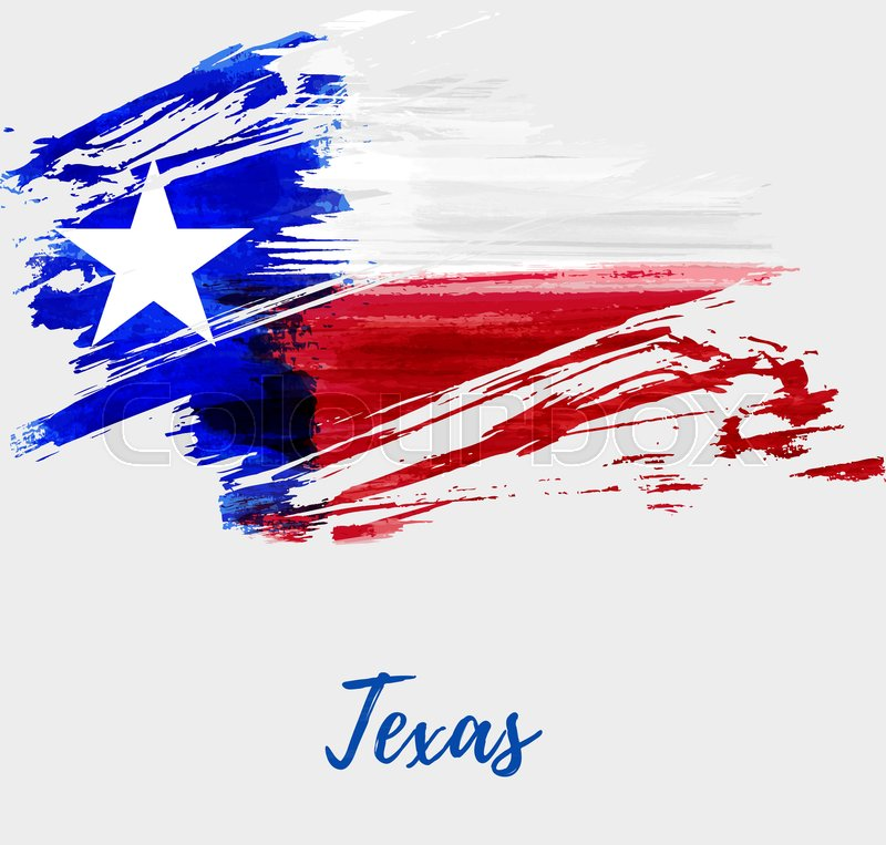 abstract watercolor grunge flag of the state of texas the lone star
