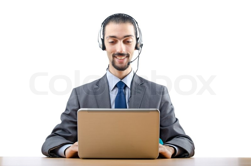Call center operator with laptop | Stock Photo | Colourbox
