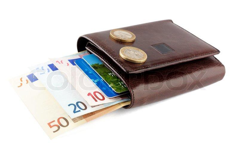 26e20e85258 Læder pung med eurosedler , mønter og ... | Stock foto | Colourbox