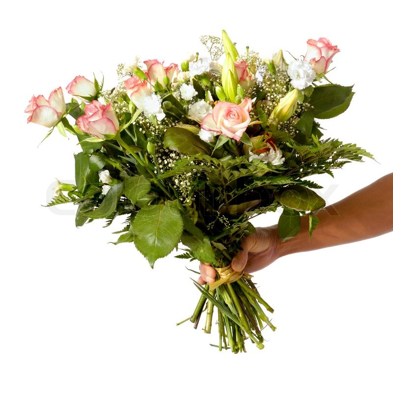 A womans hand is holding a bouquet of flowers isolated on white ...