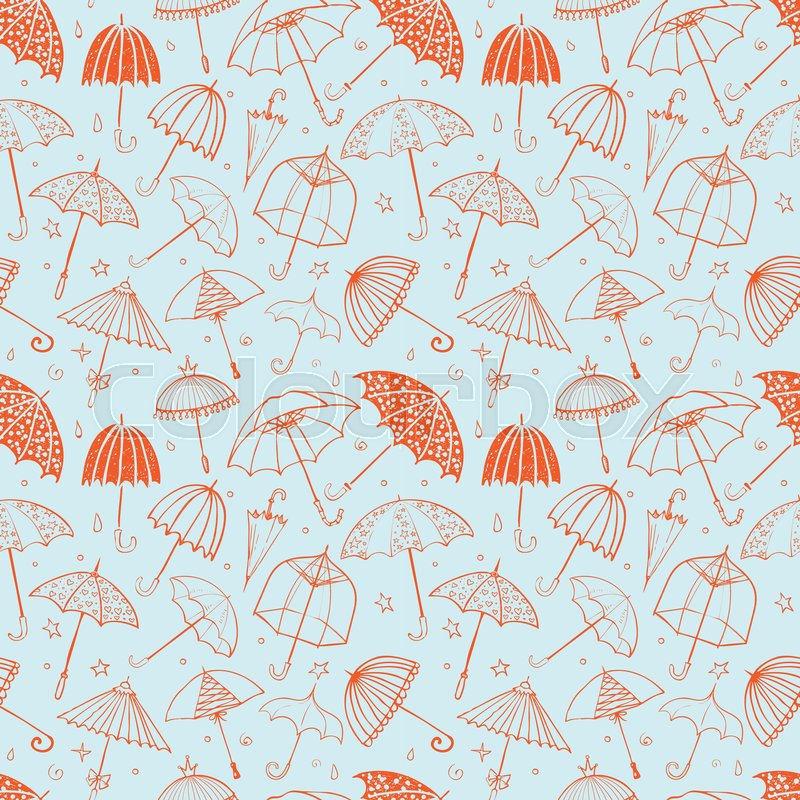 Seamless Pattern With Red Umbrellas On Blue Background Can Be Used For Wallpaper Fills Textile Web Page Surface Textures