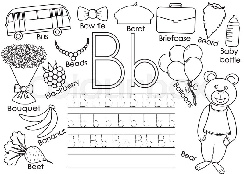 Letter B English Alphabet Writing Practice For Children Educational Game Coloring Book Vector Illustration