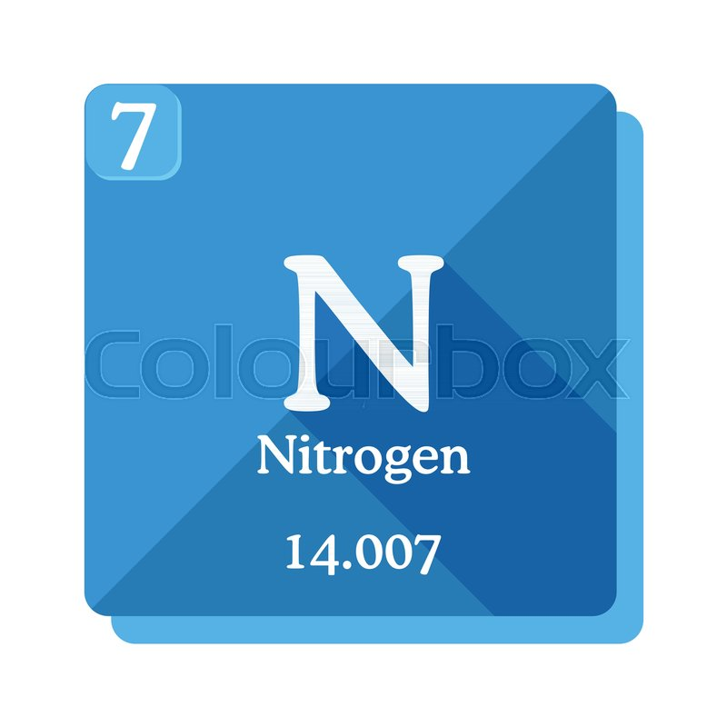 Nitrogen chemical element periodic table of the elements nitrogen nitrogen chemical element periodic table of the elements nitrogen icon on blue background vector illustration in flat style with modern long shadow urtaz Image collections