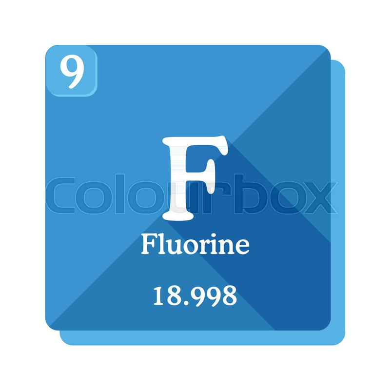 Fluorine chemical element periodic table of the elements fluorine fluorine chemical element periodic table of the elements fluorine icon on blue background vector illustration in flat style with modern long shadow urtaz