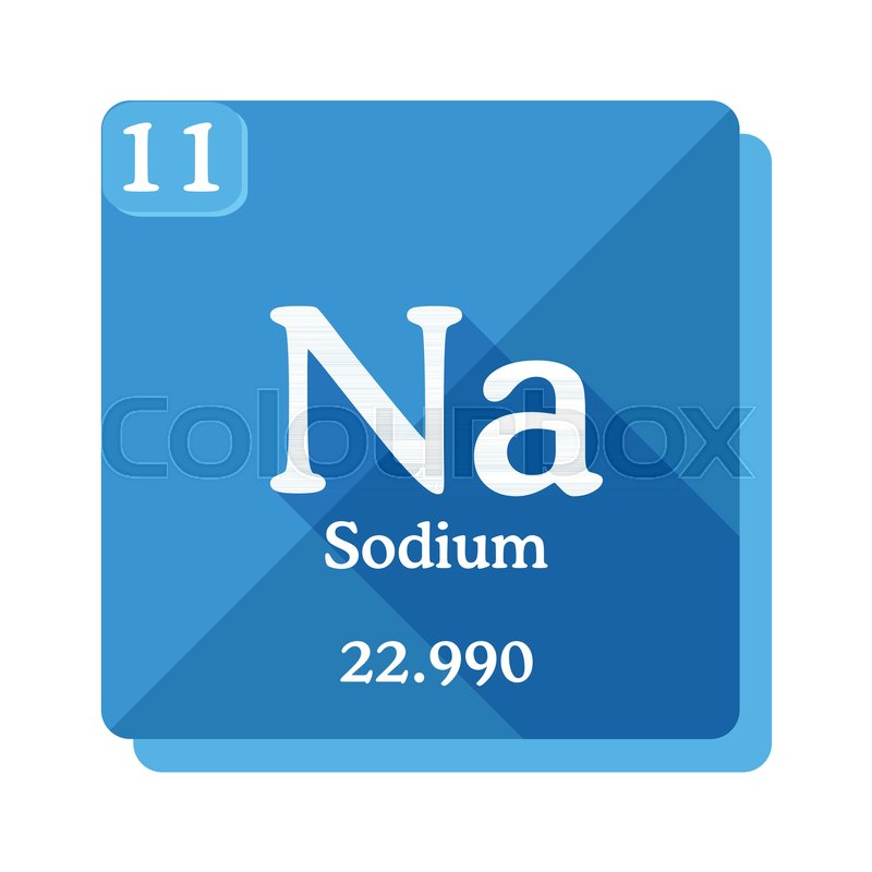 Sodium Na Element Of The Periodic Table Sodium Icon On Blue