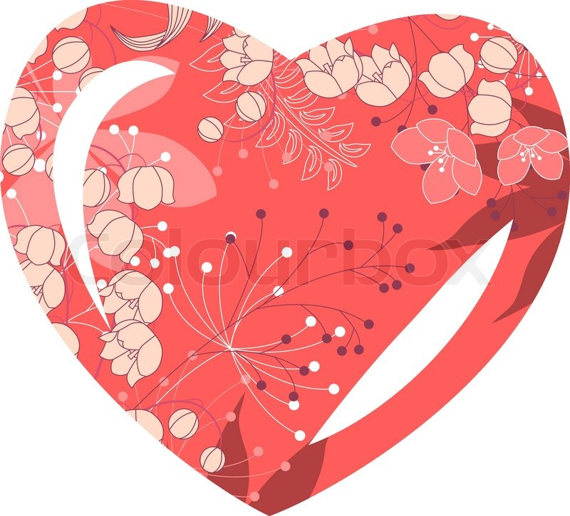 Heart-shaped frame with stylized pink flowers | Stock Vector | Colourbox