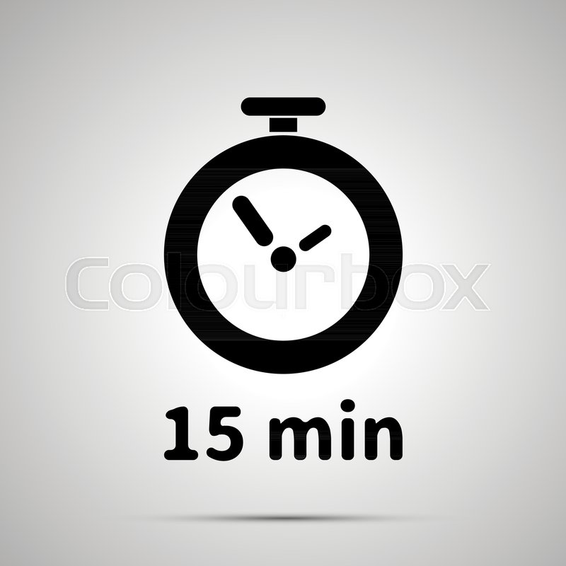 fifteen minutes timer simple black icon with shadow stock vector