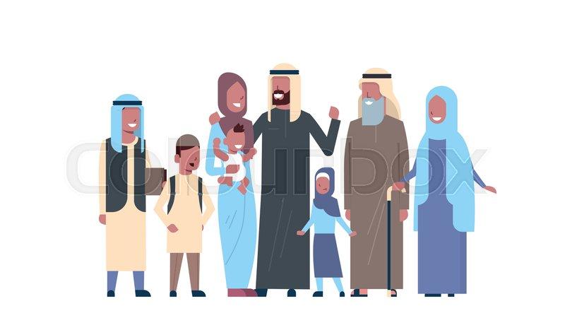 Arab grandparents parents children       Stock vector   Colourbox