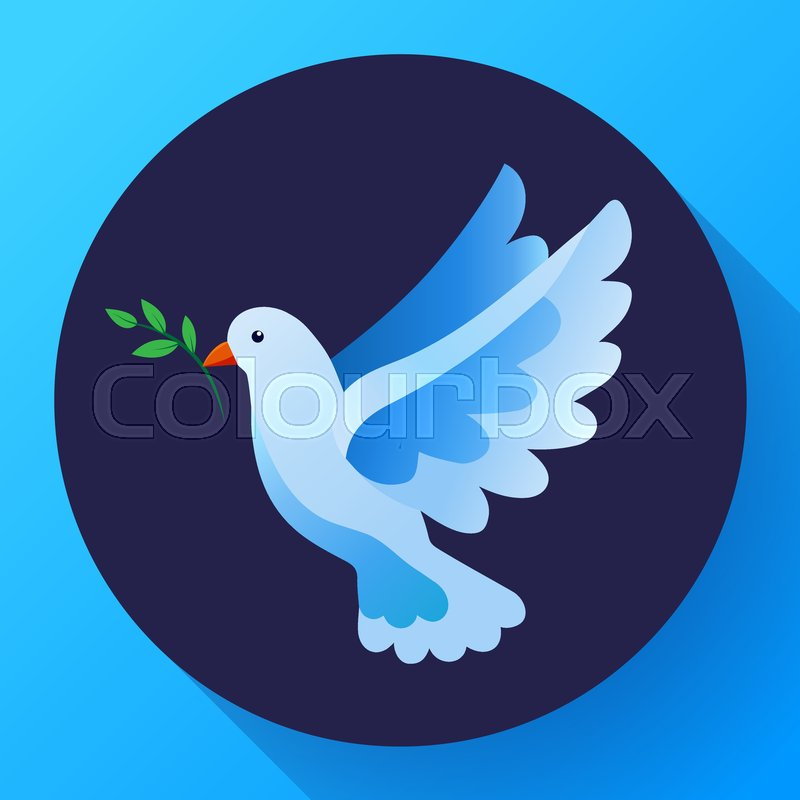 Blue Dove Of Peace Icon Flying Blue Bird And Peace Concept