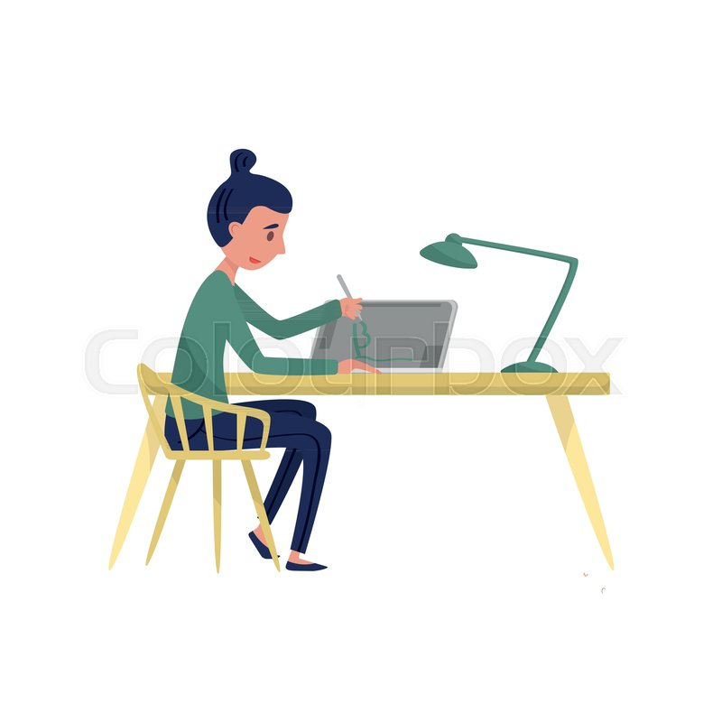 Young Woman Sitting At Table And Drawing On Graphic Tablet. Girl Freelancer  At Workplace. Cartoon Character Of Professional Graphic Designer. Work At  Home.
