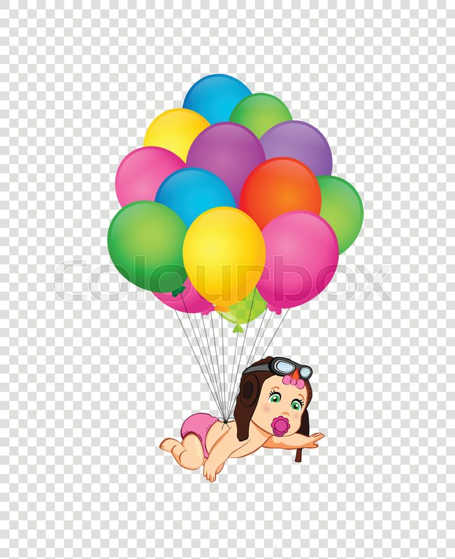 Its a girl cartoon vector illustration with cute baby girl in pilot with cute baby girl in pilot hat flying on bunch of colorful helium balloons on transparent background baby shower greeting card clipart newborn baby m4hsunfo