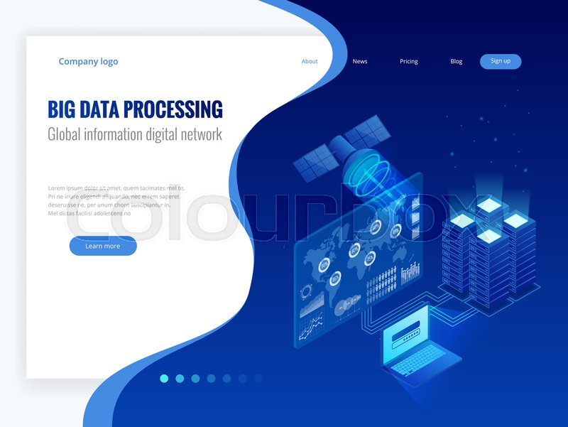 Isometric Big Data Processing Global Information Digital Network Concept Datacenter Base Technology Website Banner Templates