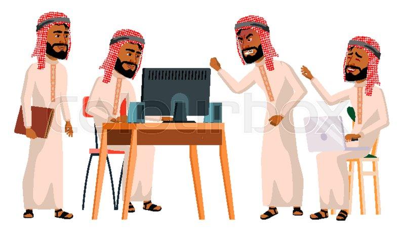 Arab Man Office Worker Vector        Stock vector   Colourbox