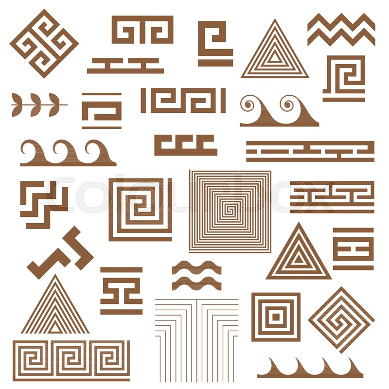 Typical Egyptian Assyrian And Greek Motives Vector Symbols Set