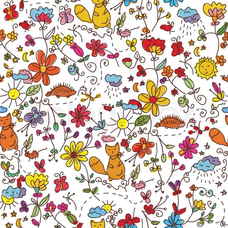 Schwarze Tapete Mit Blumen : Nahtlose Tapete mit der Natur Stock-Vektor Colourbox