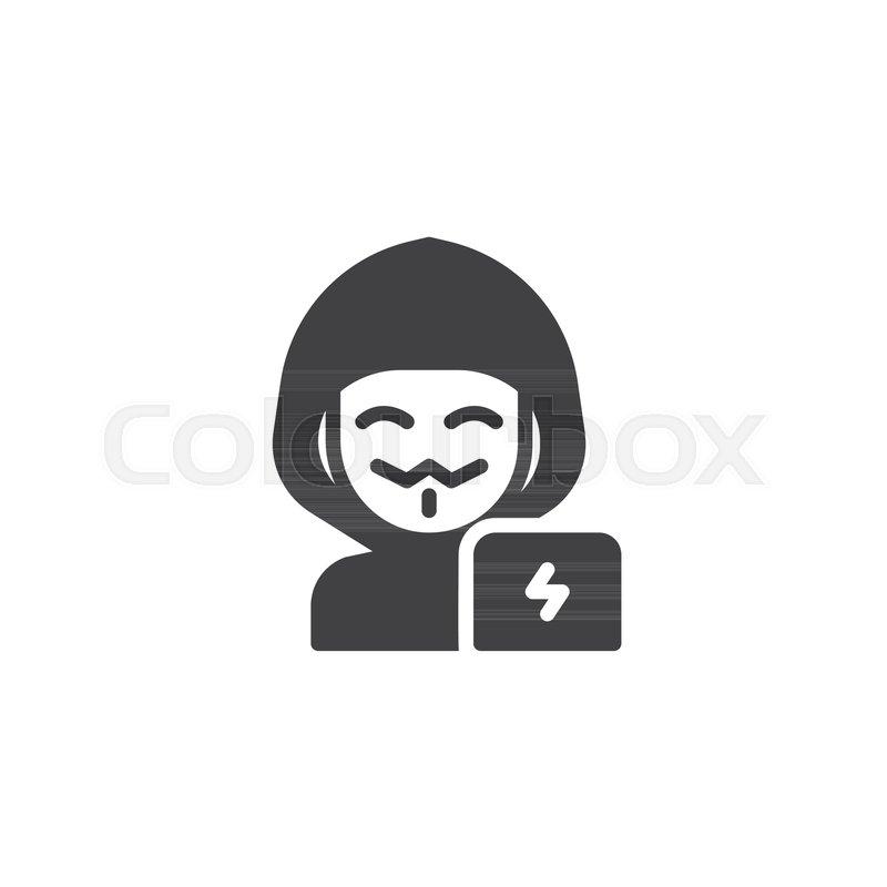 Hacker man vector icon  filled flat     | Stock vector | Colourbox