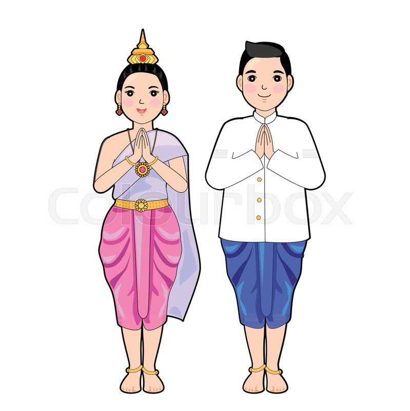 c9dbc4fe3 Woman and man in thai traditional ... | Stock vector | Colourbox
