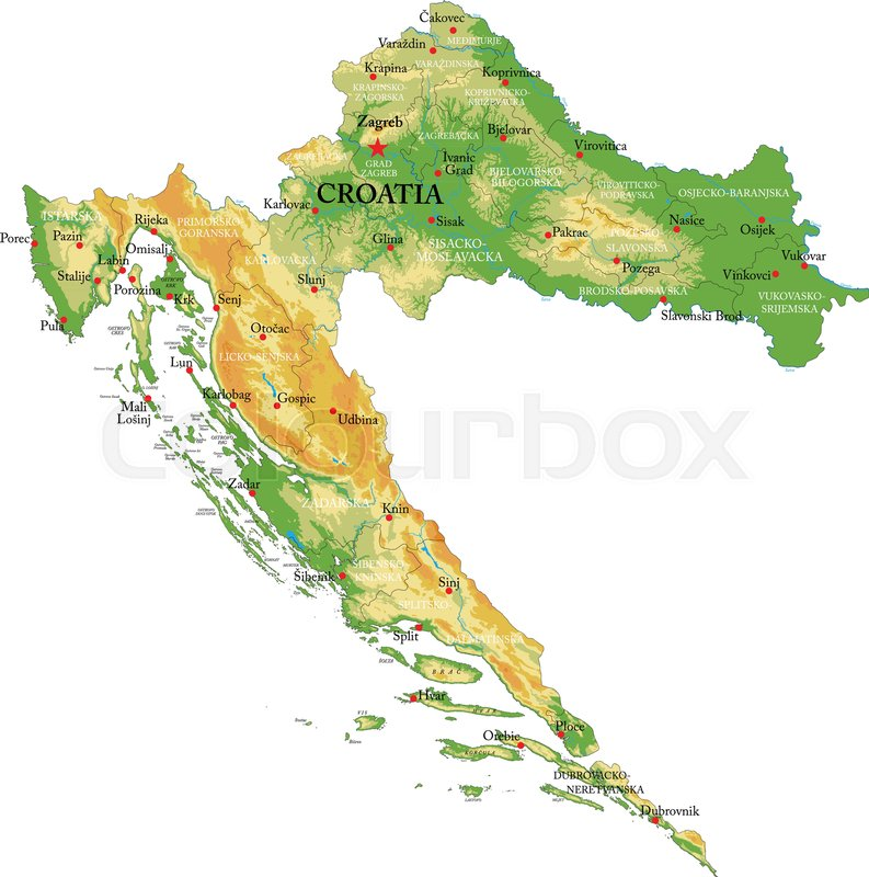 Highly detailed physical map of the Croatia, in vector format,with ...