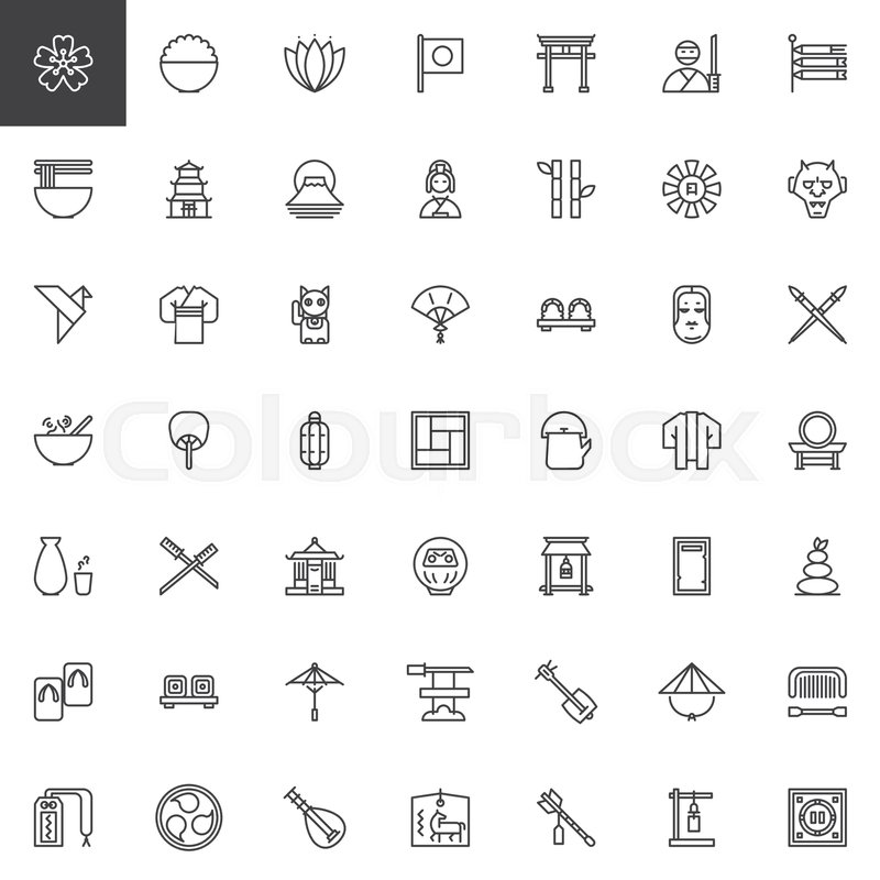Japanese Culture Outline Icons Set Linear Style Symbols Collection