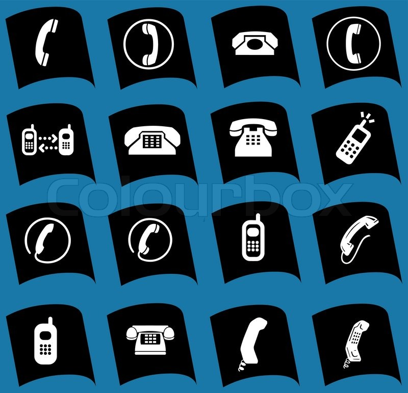 Stock-Vektor von 'Phone icons, signs, illustrations set. telephone icons collection.'