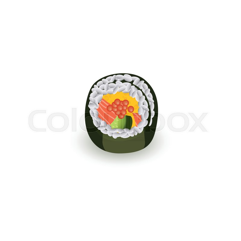 Sushi Roll Isolated On White Stock Vector Colourbox