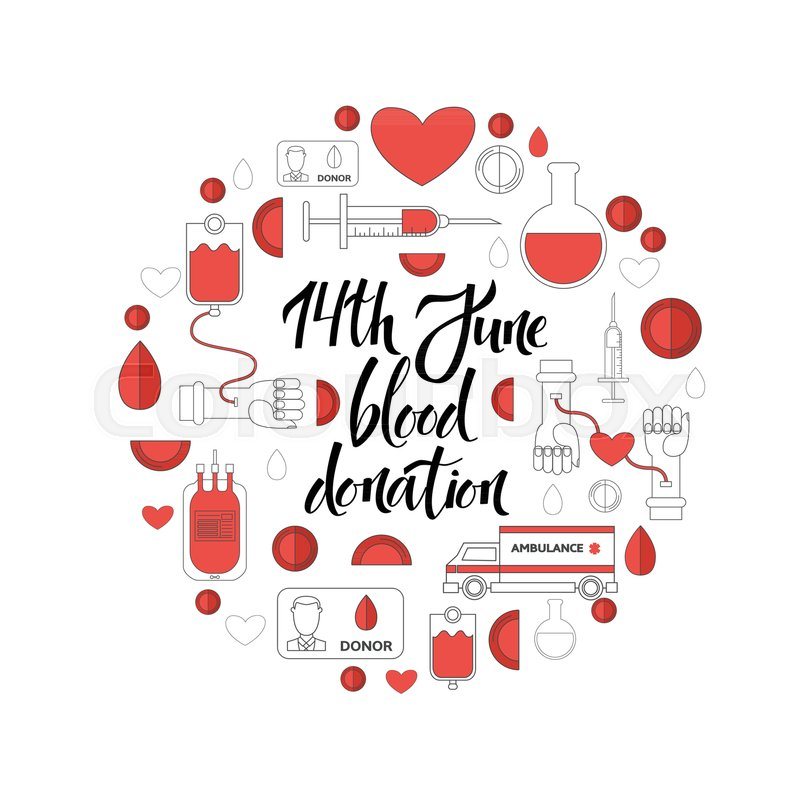 Flat 14 June World Blood Donor Day Poster Template With Medical