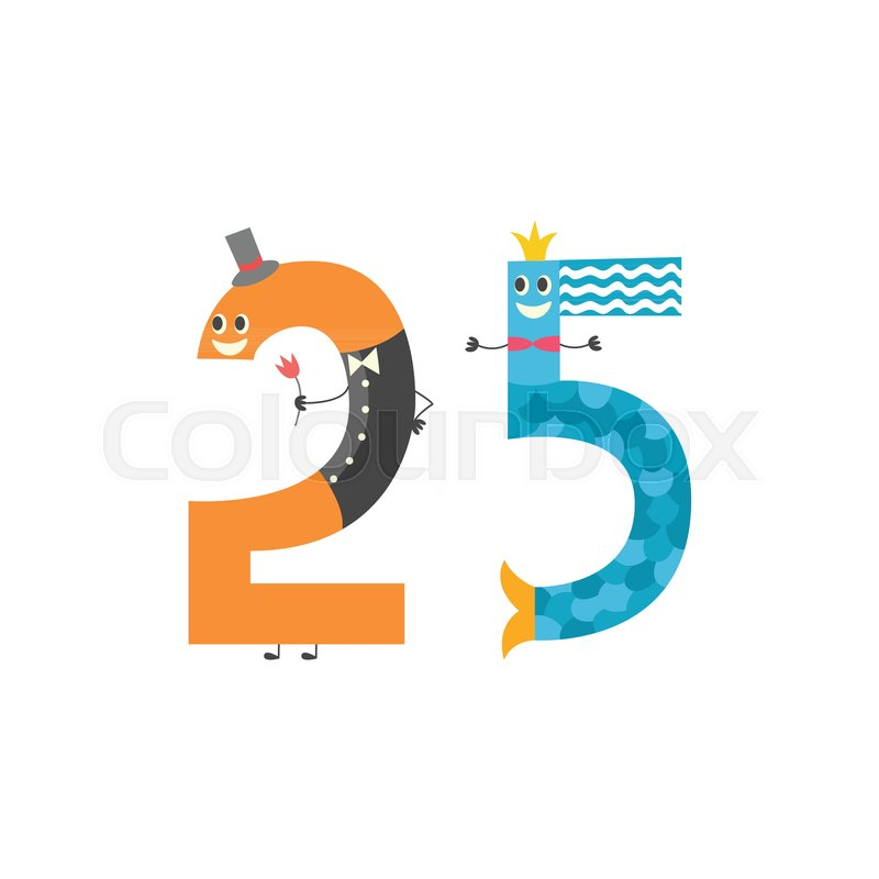 Number twenty five cute cartoon character isolated on white vector illustration of arithmetic element for teaching children or birthday invitation adorable number 25 stock vector colourbox stopboris Images