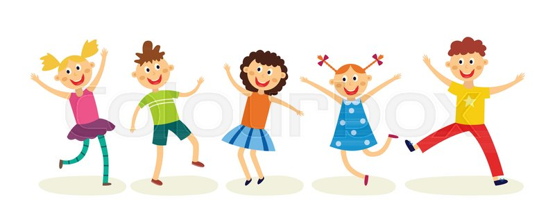 Dancing Kids Set In Flat Style Happy Stock Vector Colourbox