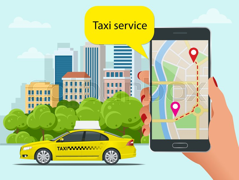 Yellow taxi cab and mobile application     | Stock vector