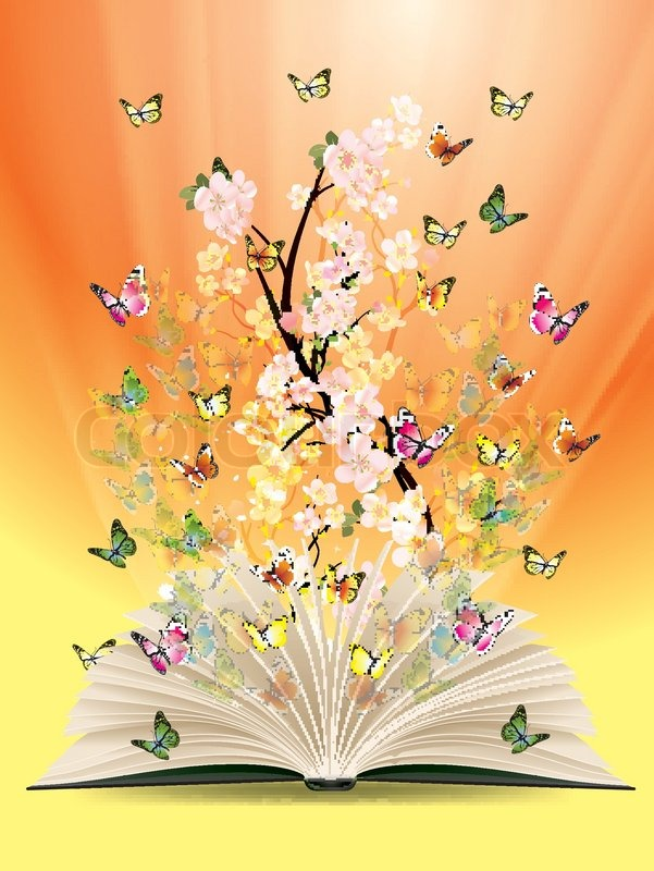 Open Book With Butterflies Flying From It Stock Vector