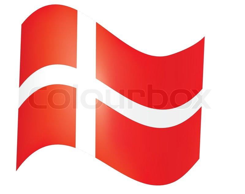 Fly Away Danish Flag Over White Vector Stock Vector Colourbox