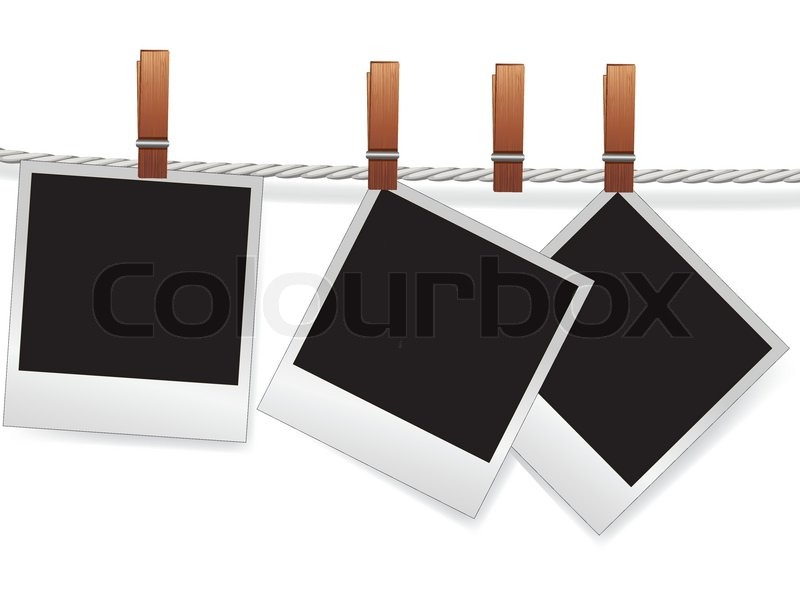 Photo snapshot frames on rope for   Stock vector