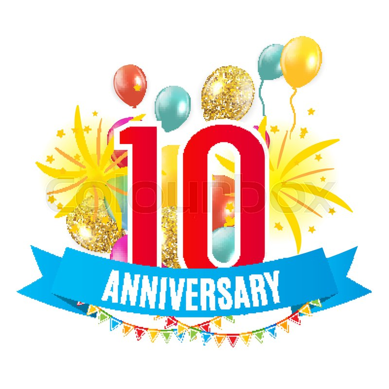 template 10 years anniversary congratulations greeting card with