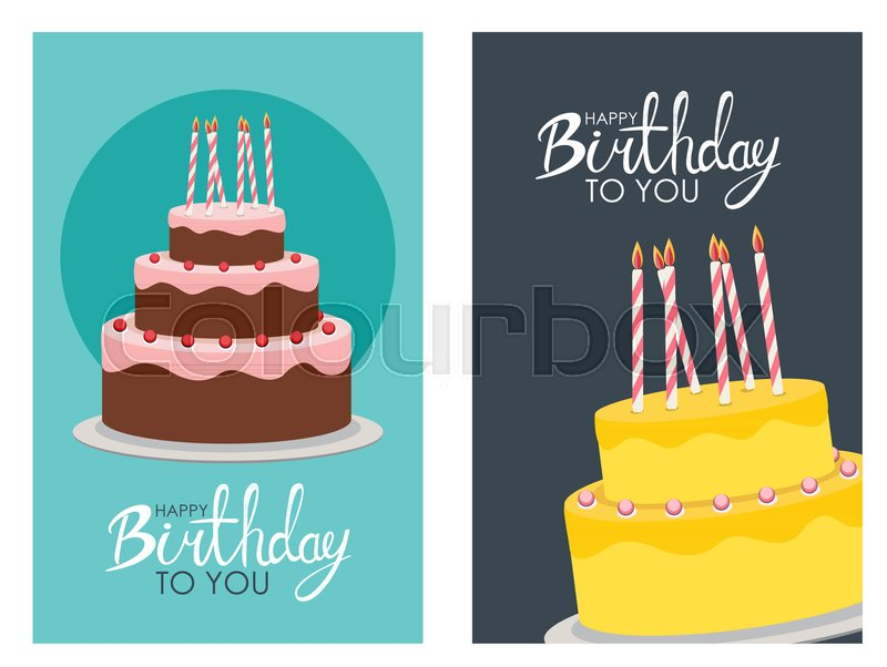 Happy Birthday Poster Background With Cake Vector Illustration