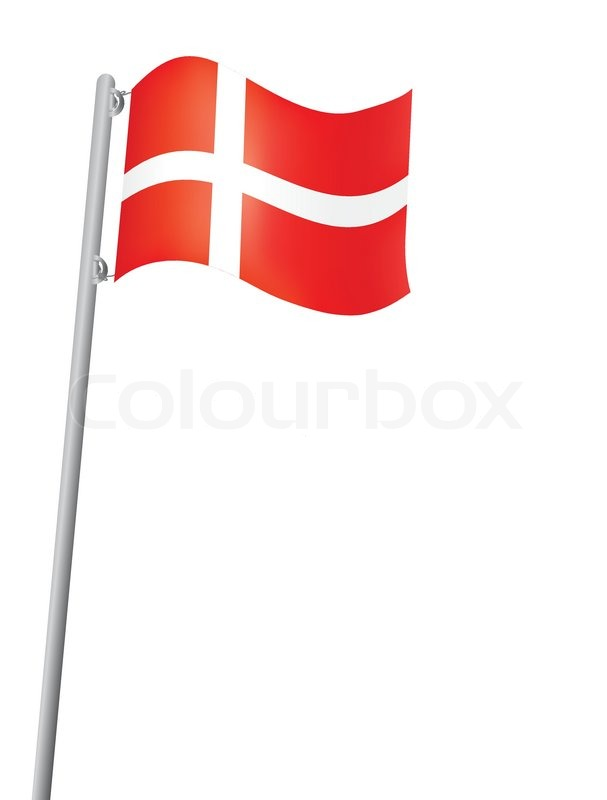 Danish Flag On A Flagstaff Vector Stock Vector Colourbox