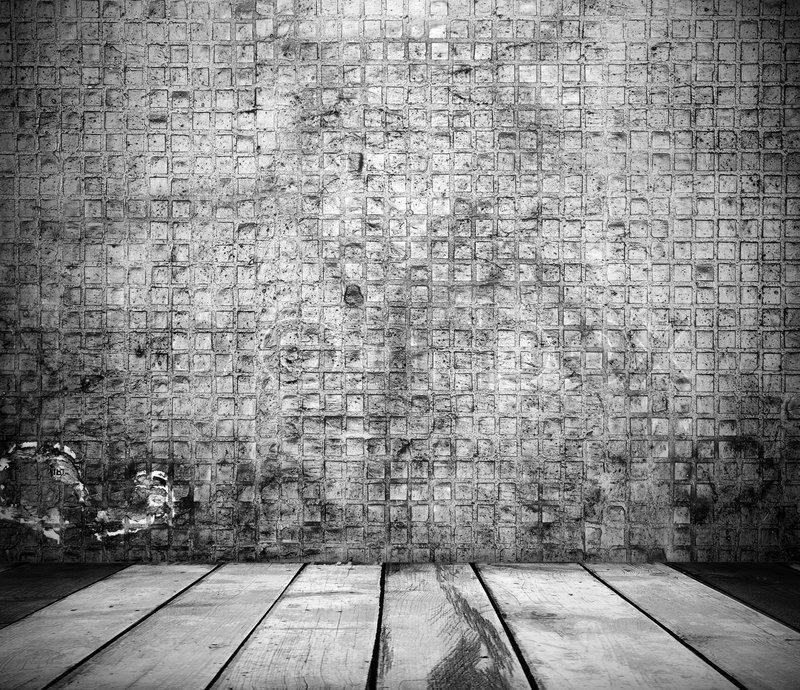 black and white grunge interior of stone wall stock photo