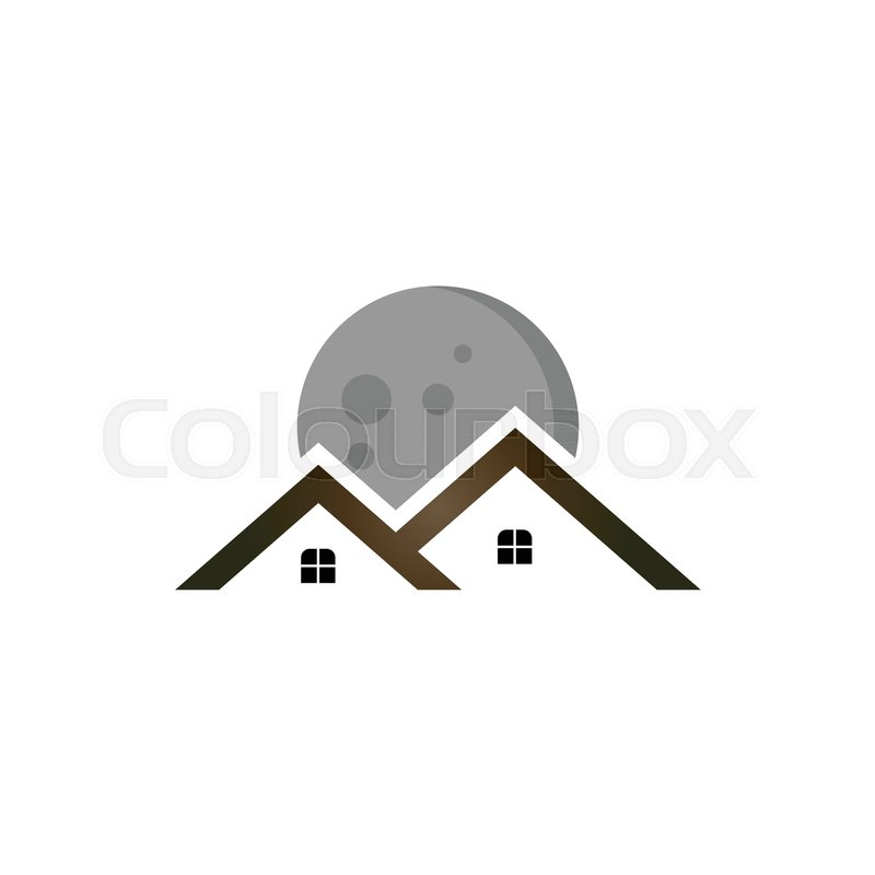 full moon with real estate logo template stock vector colourbox