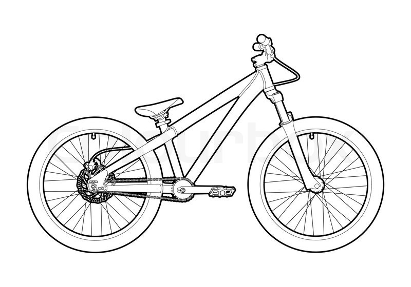 Black Outline Bicycle On White Background Stock Vector