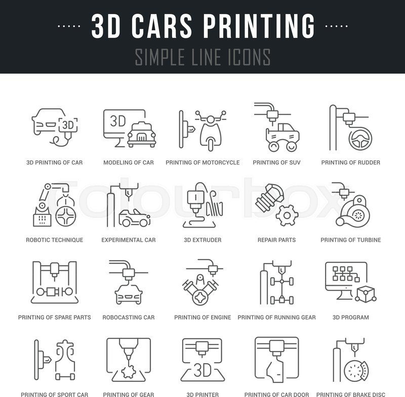 Set Of Outline Signs And Symbols Of 3d Cars Printing With Names