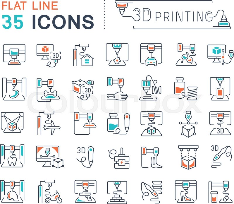 Set Of Vector Line Icons Sign And Symbols With Flat Elements Of 3d