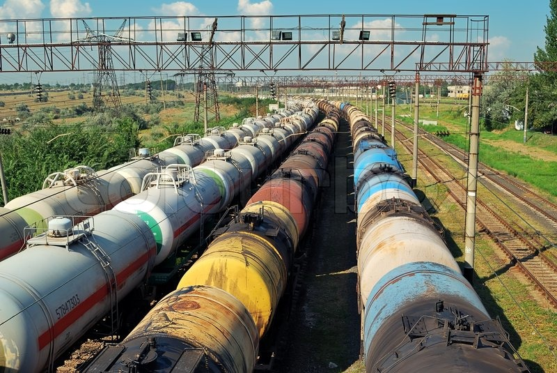 The train transports tanks with oil and fuel, stock photo