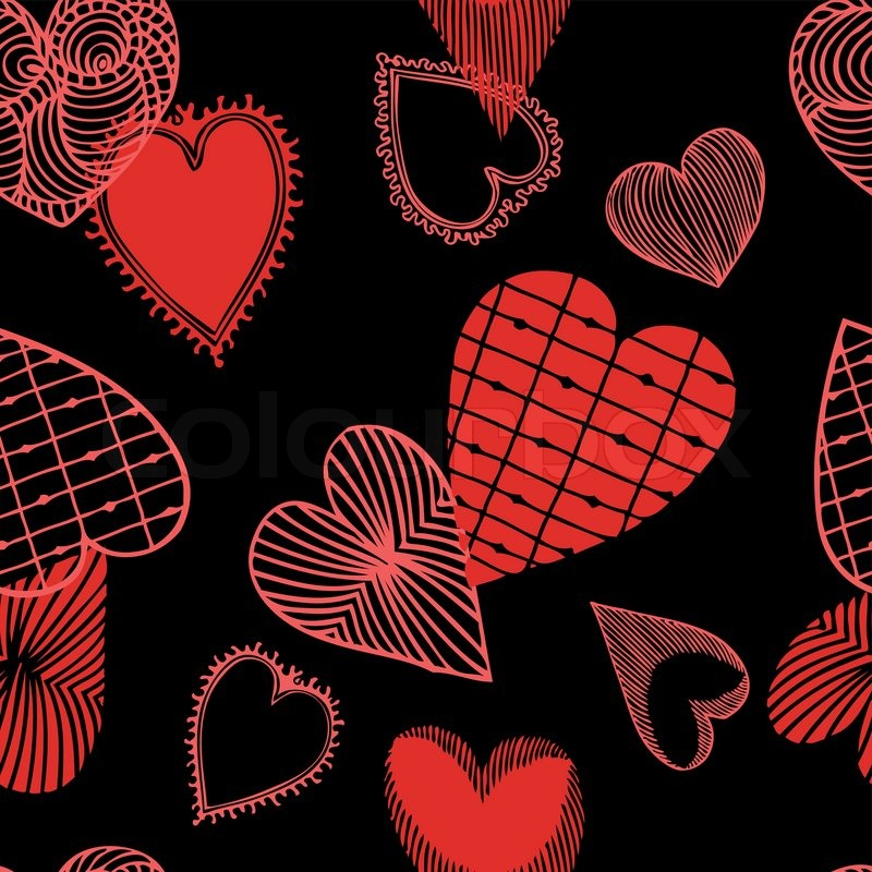 retro style vector seamless fabric pattern wallpaper wrapping and  background with painted abstract heart valentine day and love theme for  decoration. Retro Theme Wallpaper   The Wallpaper