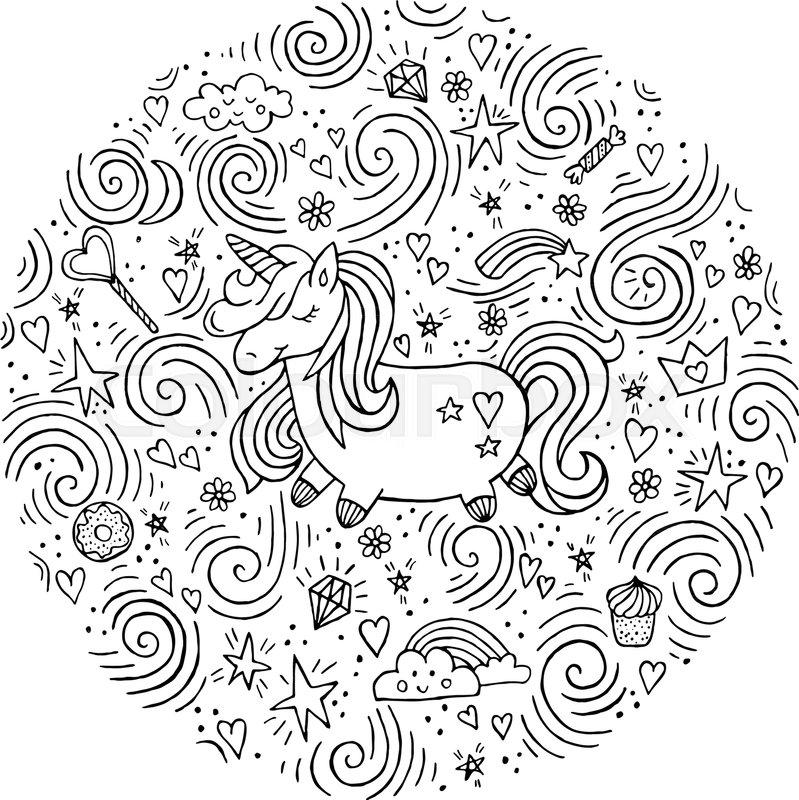 enhjørninger tegninger til print