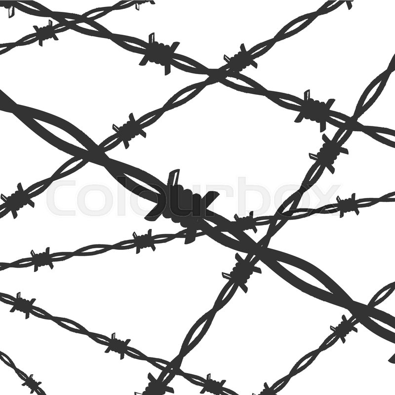 Cartoon Silhouette Black Barbed Wire Iron Line Background Card Barb ...