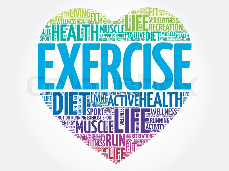 Exercise Heart Word Cloud Fitness Stock Vector Colourbox
