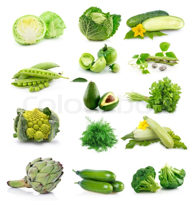 Set of fresh green vegetables isolated on white background ...