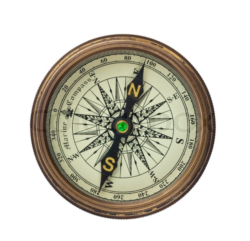A Compass Is Set On White Background