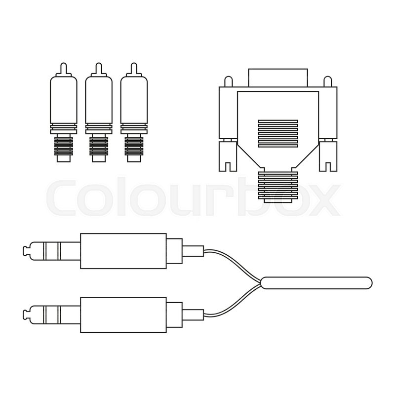 Aux Vga Component Cable On The White Background Vector Illustration