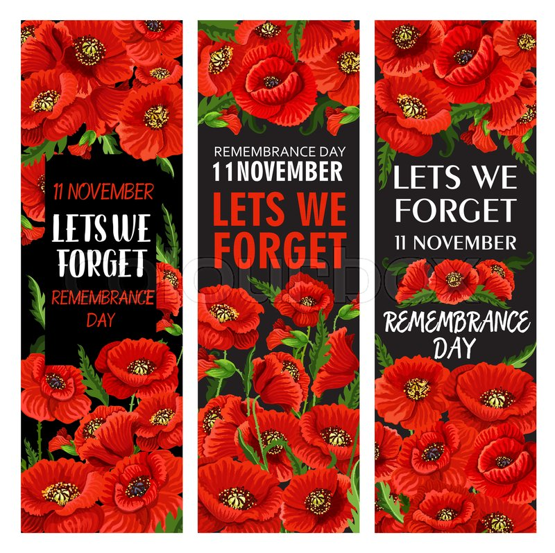 Red Poppy Flower Banner Set For Stock Vector Colourbox