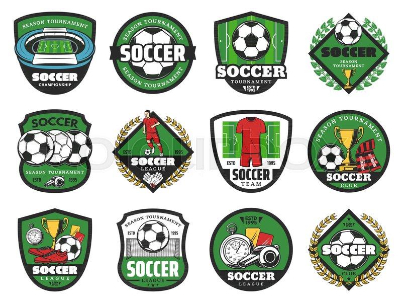 Soccer Ball And Winner Icons For Football Sport Game Design Soccer